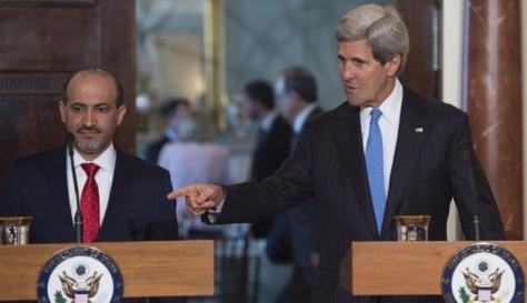 Από την συνάντηση του Κέρρυ με τον εγκληματία Τζάρμπα αρχηγό της συριακής αντιπολίτευσης στην Τζέντα της Σαουδικής Αραβίας στις 28/06/14
