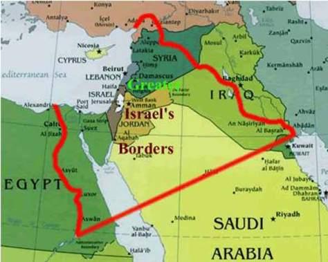 Αυτά είναι τα σύνορα του σιονιστικού σχεδίου,το Μεγάλο Ισραήλ,Eretz Israël για τους οικείους.