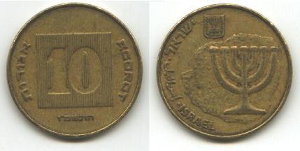 O χάρτης του μεγάλου Ισραήλ πάνω σε ισραηλινό νόμισμα το shekel.