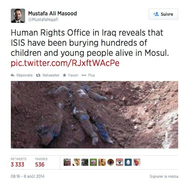 με την επισήμανση ότι το Γραφείο των Ανθρωπίνων Διακιωμάτων στο Ιράκ αναφέρει χιλιάδες θαμμένους ζωντανούς