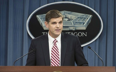 Pentagon Press Secretary Peter Cook conducts a press briefing at the Pentagon, Aug. 25, 2015. (DoD photo by Master Sgt. Adrian Cadiz)(Released)
