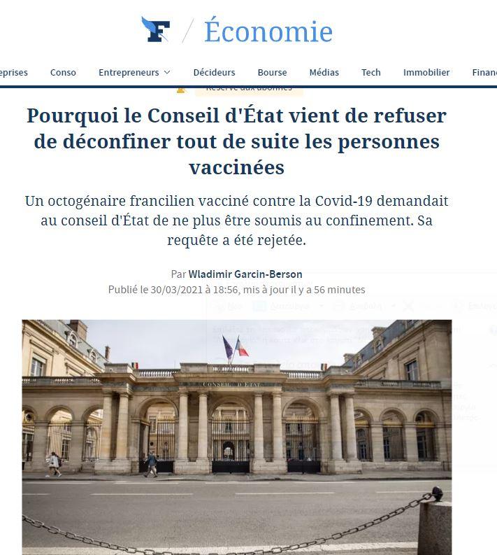 Απόφαση καταπέλτης του Συμβουλίου Επικρατείας στη Γαλλία: Απέρριψε αίτημα διπλοεμβολιασμένου να μην υφίσταται ως τέτοιος το lockdown!! Η απόφαση δέχεται ότι και οι εμβολιασμένοι μπορεί να είναι φορείς και να μεταδίδουν τον ιό!! Οπότε δεν νομιμοποιούνται προνόμια για εμβολιασμένους!!!