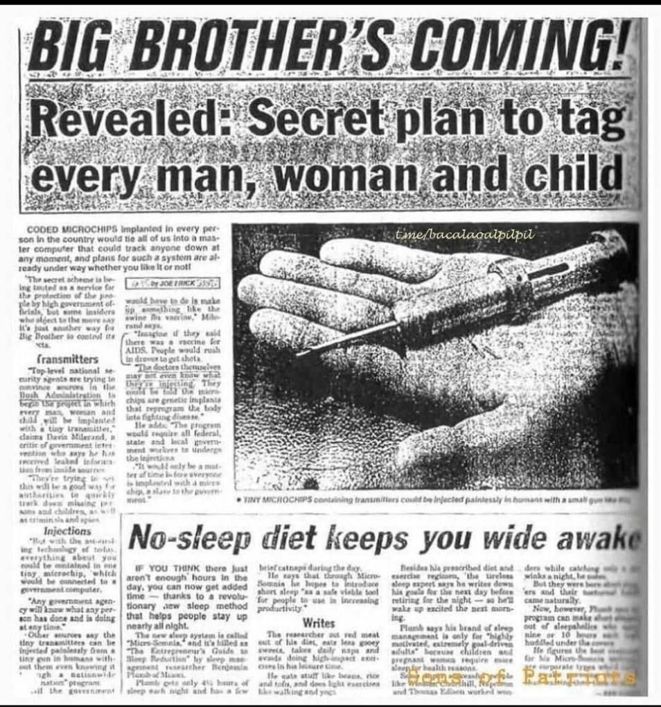 """«Προφητικό» άρθρο της The Sun πριν 30 χρόνια προέβλεπε ότι:""""Ο μεγάλος Aδελφός έρχεται. Το μυστικό σχέδιο να μαρκάρουν κάθε άνδρα, γυναίκα,παιδί """"!"""